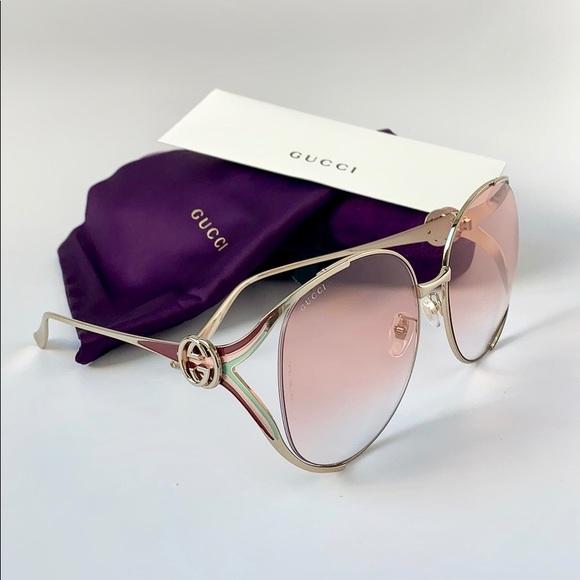 028cfef5f0a Gucci Sunglasses GG0225S-005 gold pink